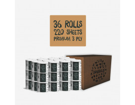 Bambooloo 100 % Virgin Bamboo Pulp Premium White Toilet Tissue 36 Roll Recycled Carton Box - Case